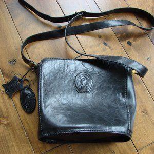 Ceancarel Portugal Black Leather Bucket Bag Purse